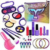 Lehoo Castle Pretend Makeup Set for Girls, 26Pcs Kids Makeup Set Fake Makeup, Little Girl Makeup Set with Cosmetic Bag (Not Real Makeup)