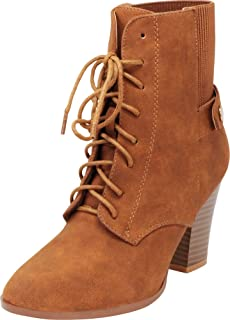Cambridge Select Women's Lace-Up Almond Toe Chunky Block Heel Ankle Bootie