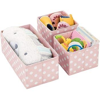 mDesign Juego de 3 cajas de almacenaje para habitaciones infantiles o baños – Cestas organizadoras en fibra sintética de lunares – Organizadores de armarios en dos tamaños – rosa/blanco: Amazon.es: Hogar