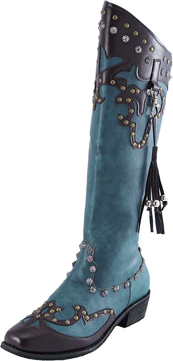 Vintage Boots for security Women Fashion Square Keep Albuquerque Mall Zipper Leather Heel