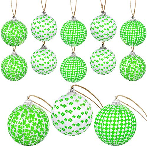 St. Patrick's Day Hanging Ball Ornaments Green Shamrock Fabric Wrapped Balls Decorations Hanging Ball Decorative Supplies for St. Patrick's Day Party Home Decorations, 3 Designs (12)
