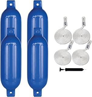 Leader Accessories Ribbed Twin Eyes Boat Fender Pack of 4 Includes 3/8'' Fender Lines Pack of 4 and Pump to Inflate