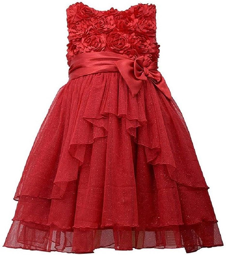 Bonnie Jean Little Girls' Red Bonaz Satin Bow Sparkling Mesh Ruffle Dress