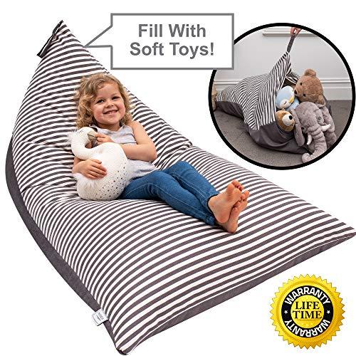 Huddle Supply Co Sitzsack für Kinder – Kinder-Sitzsack, Aufbewahrung, Stuffie-Sitz, Designer-Kinderstuhl, Aufbewahrung, Sitzsack für Kinder, Jugendliche und Erwachsene, Extra groß, 100% Baumwolle
