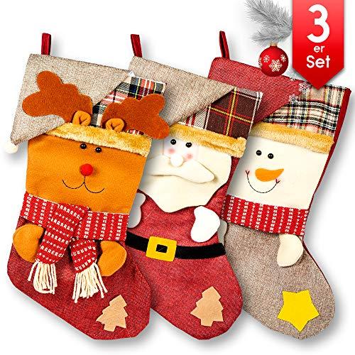 Loomiloo Kerstlaarzen om te vullen – grote kerstkous om op te hangen – kerstlaarzen van vilt voor open haard kous decoratie sok decoratie decoratie set 3-delige set B