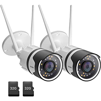 ZOSI 2pack C190 H.265+ 1080P Wireless Outdoor Security Camera with 32GB SD Card, Two-Way Audio, IP67 Waterproof, 80ft Color Night Vision, AI Human Detection, Moiton Alert, Smart Light & Sound Alarm