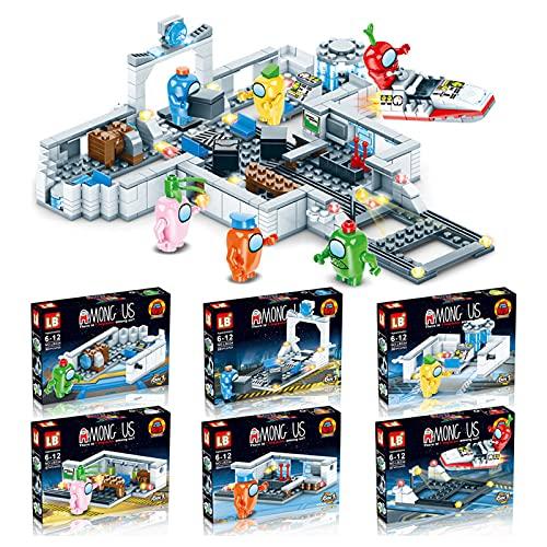 Entre nosotros Figuras Juguetes,Espacio Alien Clásico Juguetes de Construcción Kit,Entre nosotros Juguete Bloques de Construcción Kit,Plástico Niños Regalo para los aficionados a los juegos(6en1)