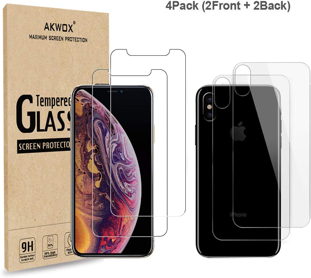 (4-Pack) Compatible with iPhone Xs Front and Back Screen Protector,AKWOX [ 9H 3D Touch] Tempered Glass Front Screen Protector and Back Screen Protector for iPhone Xs/X