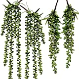 Supla 4 Pcs Artificial Hanging Succulents Faux Burro's Tail Picks Trailing String of Pearls Succulents Fake Greenery Sprays for Basket Planter Centerpiece Floral Arrangement Indoor Outdoor Decor