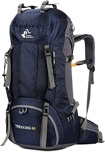 YNNB 50L Grand Sac à Dos de randonnée, Sac à Dos de Sport en Plein air imperméable Trekking Sac à Dos Sac d'alpinisme pour Voyager Trekking Camping avec Housse de Pluie,bleu