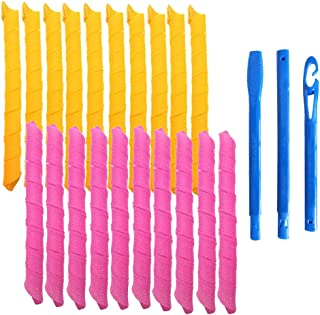 20Pcs Magic Hair Curlers Spiral Curls Styling Kit for Girl and Women, No Heat Corkscrew Curls Styling and Hooks for Extra ...