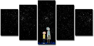 ru ri zhi sheng 5 Piece Canvas Wall Art Pictures Home Decor for Living Room Framework 5 Pieces Rick and Morty Paintings HD Prints Anime Cartoon Poster