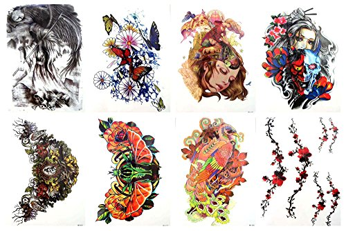 8 sheets large 8.25' temporary arm tattoo wholesale flower boat sugar skull