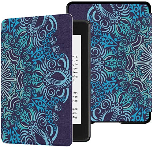 QIYI Case Fits Kindle Paperwhite 10th Generation 2018 Released Boho Gradient Floral eBook Reader Covers Oriental Print PU Leather Waterproof Smart Cover with Auto Wake / Sleep - Blue Mandala Flower