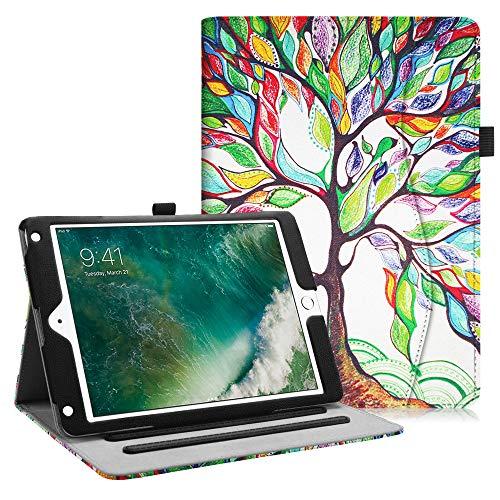 Fintie Hülle für iPad 9.7 Zoll 2018 2017 / iPad Air 2 / iPad Air - [Eckenschutz] Multi-Winkel Betrachtung Folio Stand Schutzhülle Hülle mit Dokumentschlitze, Auto Sleep/Wake, Liebesbaum
