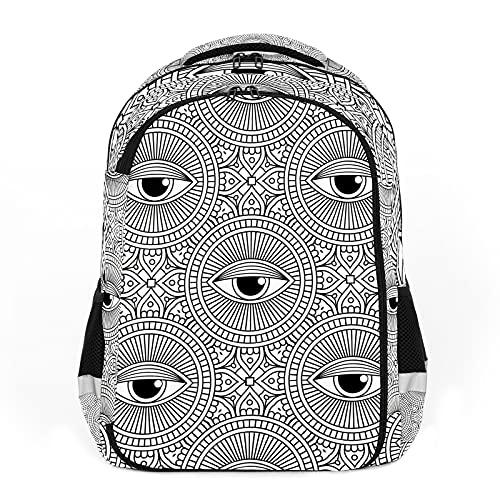 Elementos decorativos vintage, color blanco y negro, perfecto para mochilas escolares y de viaje, mochilas de estudiantes perfectas para todas las edades