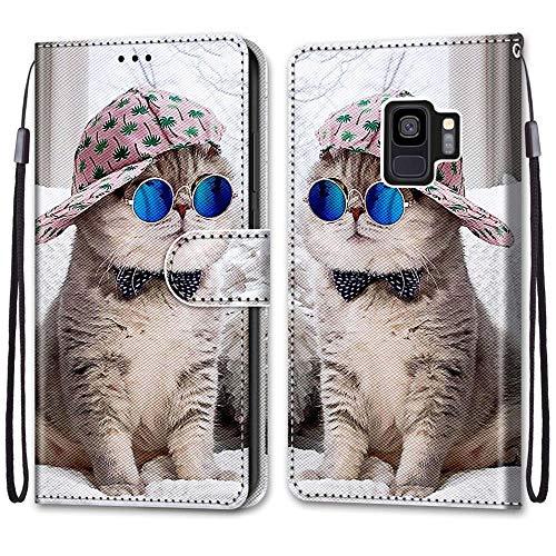 Nadoli Handyhülle Leder für Samsung Galaxy S9,Bunt Bemalt Brille Katze Trageschlaufe Kartenfach Magnet Ständer Schutzhülle Brieftasche Ledertasche Tasche Etui