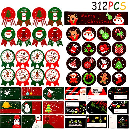Outus 312 Pezzi Adesivi di Natale per Regalo Adesivi Natalizi Decorazione Adesivi di Nome Etichette Autoadesive per Regali Carta da Regalo e Sacchetti di Regalo