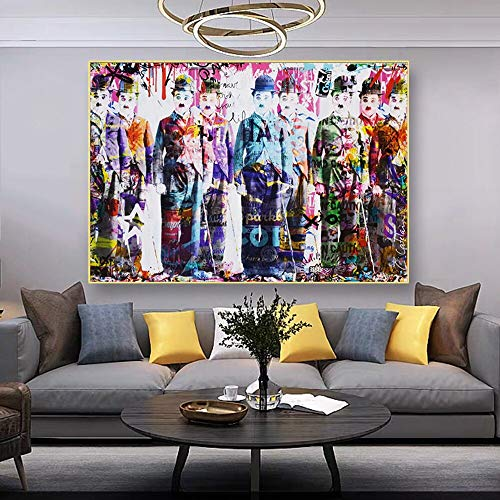 Chaplin History Abstract Graffiti Contemporary Art modern Painting Canvas Painting and Poster Pictures House Goods Wall Decoration Frameless Painting 80X114CM