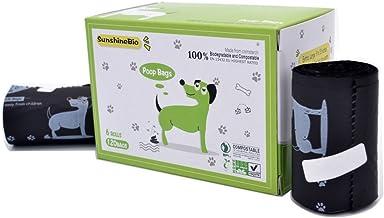 "SunshineBio 100% Compostable Biodegradable Dog Waste Poop Bags, 120 Count, 6 Rolls, Size 9"" X 13"", Meet ASTM D6400 Specification, US BPI & European VINCETTE Certificated"
