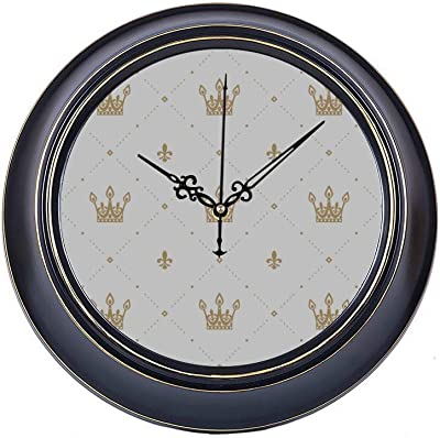 Ichiias Wall Clock European Style Flower Clock Iron Art Battery Operated Mute Easy to Read Clock for Home//Office Black