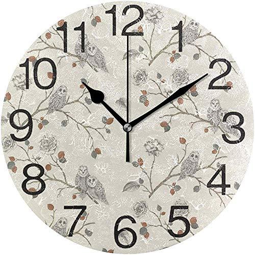 Tabue wandklok, stil, 9,5 cm, werkt op batterijen met bloemen, zonder markering, ronde bladeren van acryl, stille horloges