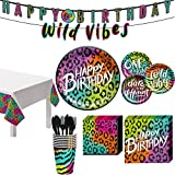 Party City Wild Child Birthday Tableware for 8 Guests, Neon and Leopard Print Plates, Napkins, Cups, and Decorations