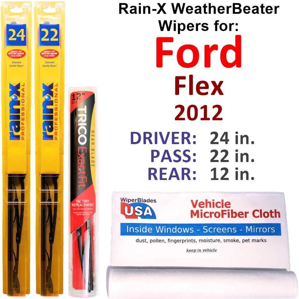 Rain-X 専門店 WeatherBeater Wipers スピード対応 全国送料無料 for 2012 Flex Set Ford Rear w