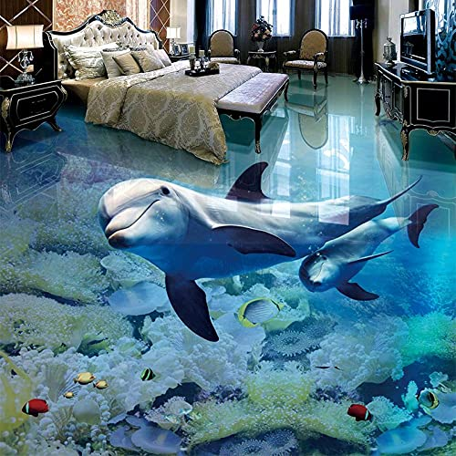 Mural de suelo 3D personalizado papel tapiz del mundo submarino de delfines para habitación de niños ropa de baño antideslizante impermeable pegatina-300x210cm