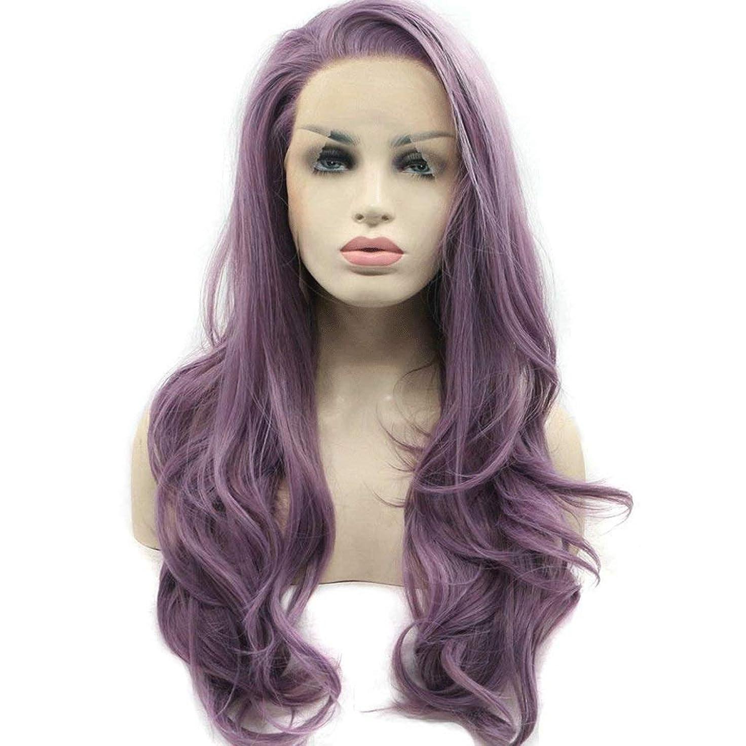 ほんの接続緑紫色の半分結ばれたレースフロントウィッグレディースロングボディウェーブ人工毛髪、サイド別れ耐熱180%密度22インチ (色 : Purple)