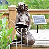 AMUR Solar Gartenbrunnen SPRINGBRUNNEN GARTENBRUNNEN SOLAR ZIERBRUNNEN Teichpumpe Set BRUNNEN Solar Meerjungfrau - SOLARBRUNNEN GARTENTEICH BRUNNEN SETVOGELBAD WASSERSPIEL für Garten, Terrasse, Teich