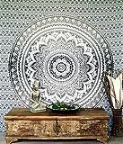 Guru-Shop Boho-Style Wandbehang, Indische Tagesdecke Mandala Druck- Weiß/schwarz, Baumwolle, 230x210 cm, Bettüberwurf, Sofa Überwurf