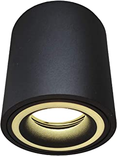 Foco de techo LED para interior, Aplique negro, Lámpara de Superficie. Incluye bombilla 5W GU10 516 lúmenes, Varias temperaturas 3000k-4000k-6000K (Luz Natural - 4000K)