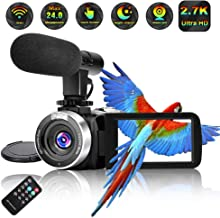 Camcorder Video Camera Full HD 2.7K Vlogging Camera 30 FPS 24MP Wi-fi Camcorders with Microphone IR Night Vision YouTube Digital Camera with Remote Control (V8)
