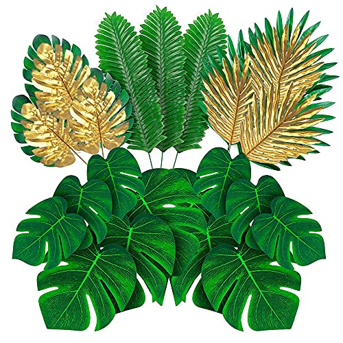 66 Pieces 6 Kinds Artificial Palm Leaves with Faux Monstera Leaves Stems Tropical Plant Simulation Safari Leaves for Hawaiian Luau Party Jungle Beach Theme Party Table Leave Decorations