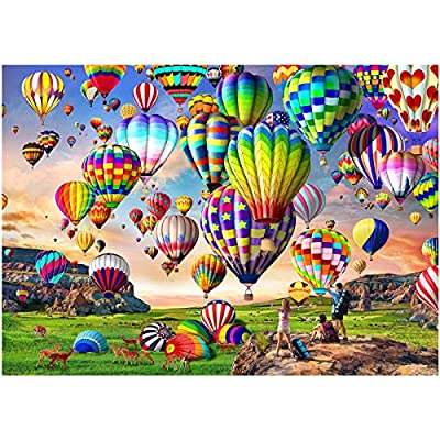 """HUADADA Puzzles for Adults 1000 Piece - Hot Air Balloon - 1000 Piece Puzzles for Adults and Kids Educational Games Home Decoration Colorful Puzzle (27.56"""" x 19.67"""") from HUADADA"""
