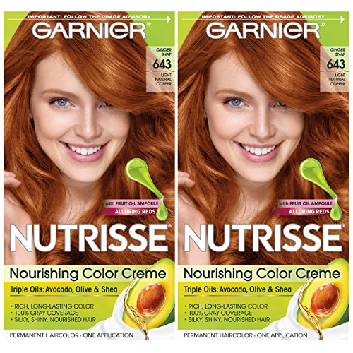 Garnier Hair Color Nutrisse Nourishing Creme, 643 Light Natural Copper, 2 Count
