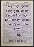 Winnie The Pooh Quote Vintage Dictionary Print Wall Art Picture Favourite Day