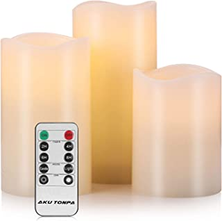 "Aku Tonpa Flameless Candles Battery Operated Pillar Real Wax Electric LED Candle Gift Sets with Remote Control Cycling 24 Hours Timer, 4"" 5"" 6"" Pack of 3"