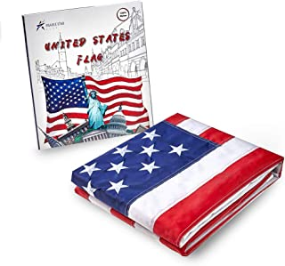 Prairie Star American Flag 3x5 Ft,100% Made in USA,Sewn Stripes, Embroidered Stars, Brass Grommets US Flag.