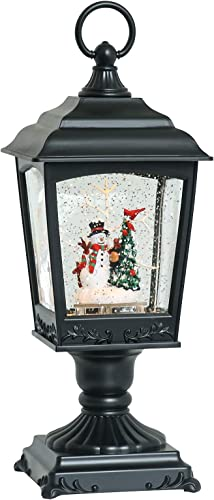 GenSwin Christmas Musical Snowman Snow Globe Lantern with 6 Hour Timer, BatteryOperated & USB Powered Spinning Lighted Water Glitter Spinning Snow Globe Lamp Gift(12 Inch)