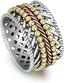 Textured Meditation Ring 925 Sterling Silver Spinner Rings for Women