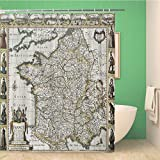 Awowee Decor Duschvorhang, französische Landkarte, 180 x 180 cm, Polyester, wasserdicht, mit Haken für das Badezimmer
