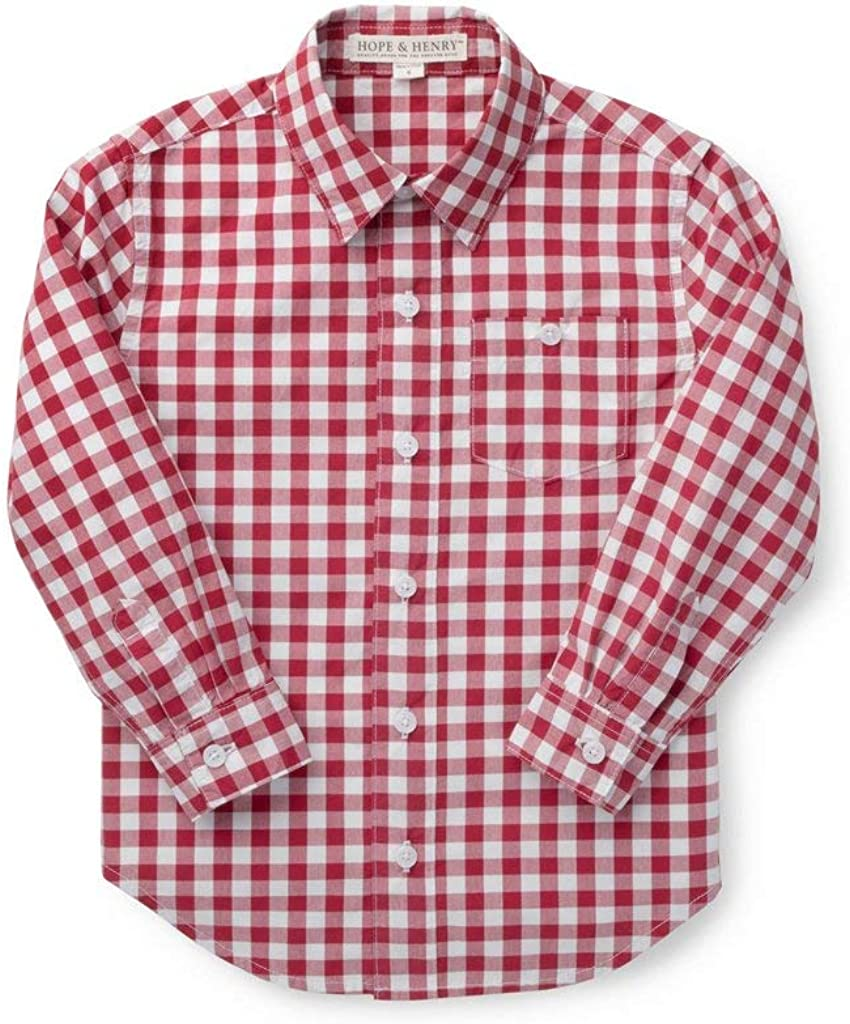 Hope & Henry Boys' Long Sleeve Stretch Poplin Button Down Shirt