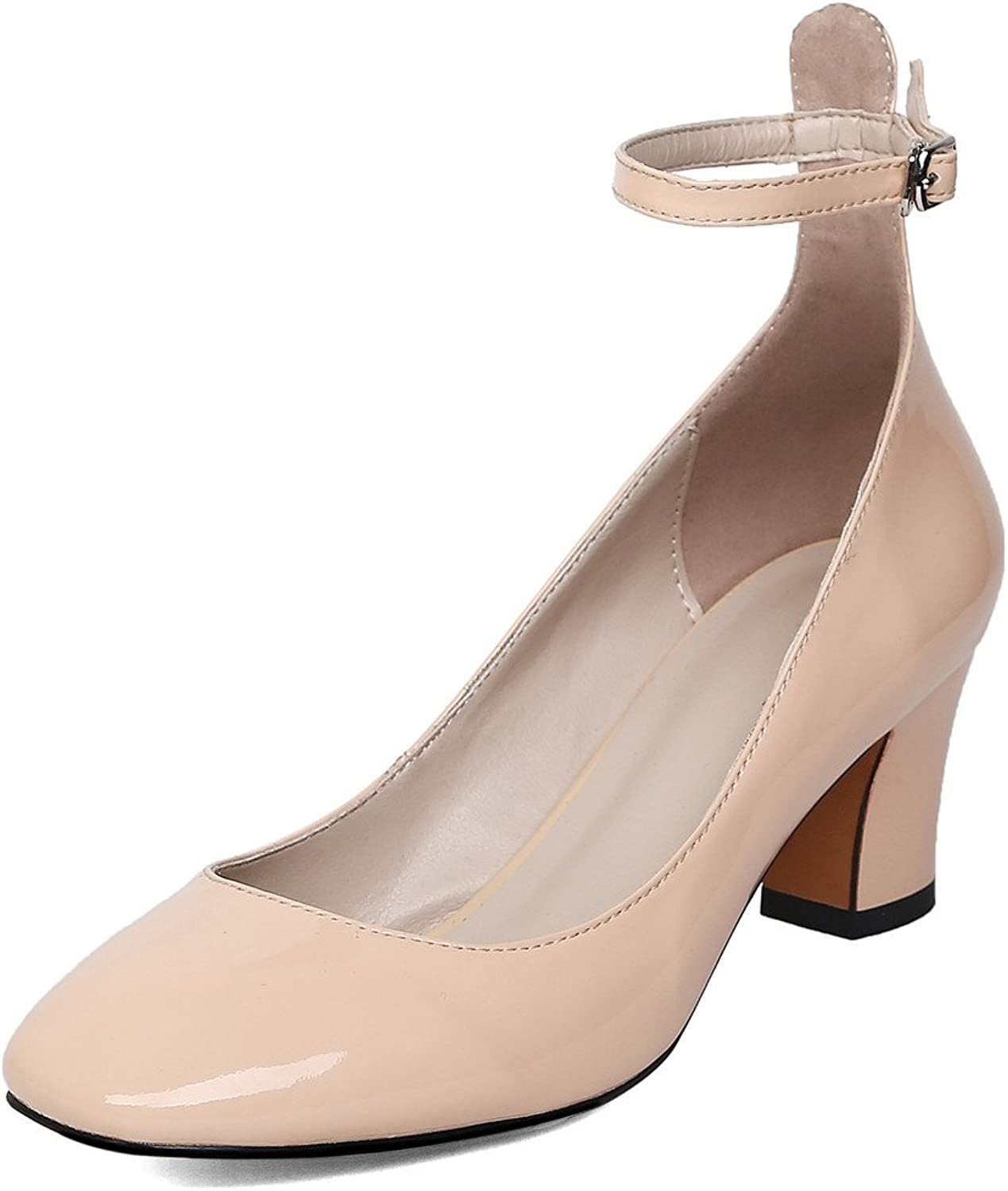 Nine Seven Patent Leather Women's Square Toe Chunky Heel Ankle-Strap Handmade Pump