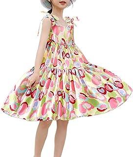 Girls Casual Summer Dresses Tie Shoulder Beach Floral Sundress Sleeveless for Kids 3-14 Years
