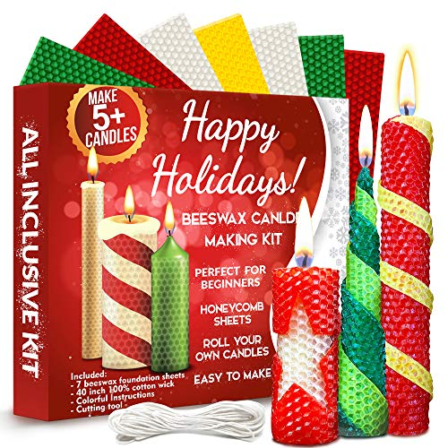 Christmas Candle Making Kit Beeswax - All-Inclusive DIY Coloured Candle Making Kit for Adults and Kids - Candle Making Supplies Candle Maker - Beeswax Candle Making Kit - Candle Starter Kit