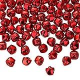 Zhanmai Campane di Natale Jingle, 300 Pezzi Campane Artigianali, Campane Fai-da-Te per Ghirlanda, Casa Vacanze e Decorazioni Natalizie (Rosso, 0.5 Pollici)