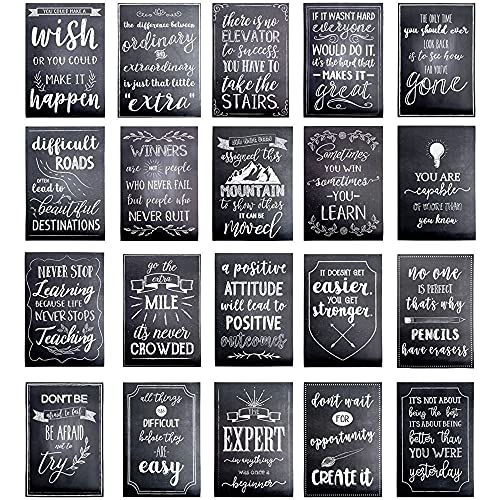 Best Paper Greetings Motivational Posters for Classroom with Quotes, Chalkboard Design (20 Pack)