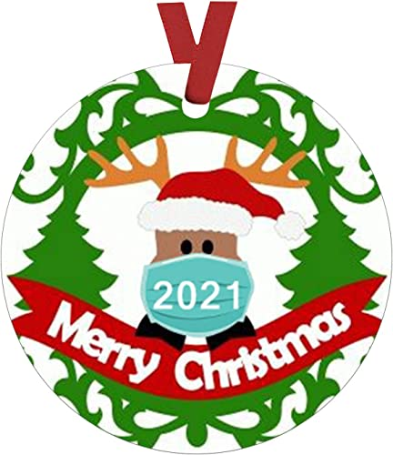 lowest OPTIMISTIC 2021 wholesale Happy New discount Year Christmas Tree Hanging Ornament Decoration,2020 Quarantine Creative Keepsake Xmas Tree Decoration, Christmas Party Home Holiday Decor with Ribbon outlet online sale